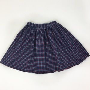 American Apparel Flannel Plaid Navy Blue Red Skirt